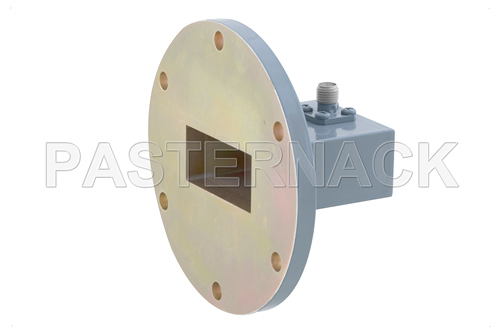 WR-137 UG-441/U Round Cover Flange to SMA Female Waveguide to Coax Adapter, 5.85 GHz to 8.2 GHz, C Band, Aluminum, Paint