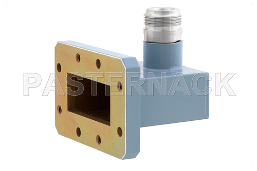 WR-137 CMR-137 Flange to Type N Female Waveguide to Coax Adapter, 5.85 GHz to 8.2 GHz, C Band, Aluminum, Paint