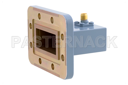 WR-137 CPR-137G Grooved Flange to SMA Female Waveguide to Coax Adapter, 5.85 GHz to 8.2 GHz, C Band, Aluminum, Paint