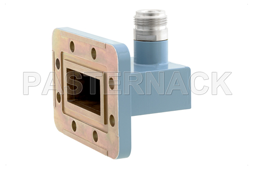 WR-137 CPR-137G Grooved Flange to Type N Female Waveguide to Coax Adapter, 5.85 GHz to 8.2 GHz, C Band, Aluminum, Paint