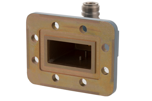 WR-159 CPR-159G Grooved Flange to N Female Waveguide to Coax Adapter Operating from 4.9 GHz to 7.05 GHz