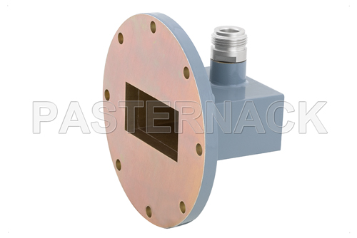 WR-187 UG-407/U Round Cover Flange to Type N Female Waveguide to Coax Adapter, 3.95 GHz to 5.85 GHz, J Band, Aluminum, Paint