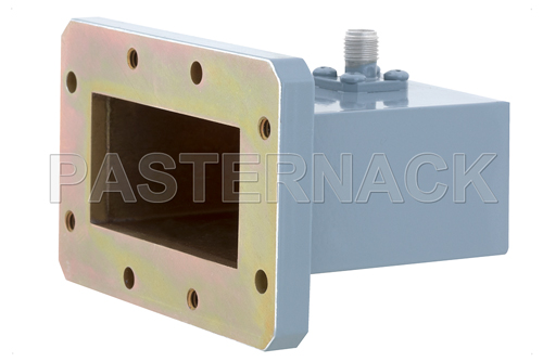 WR-187 CMR-187 Flange to SMA Female Waveguide to Coax Adapter, 3.95 GHz to 5.85 GHz, J Band, Aluminum, Paint