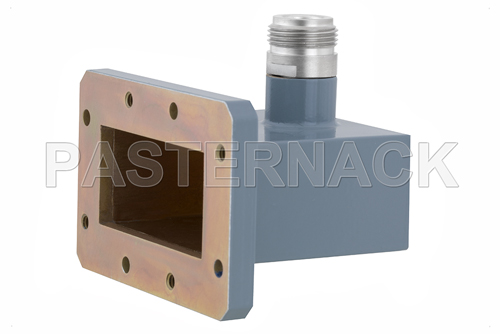 WR-187 CMR-187 Flange to Type N Female Waveguide to Coax Adapter, 3.95 GHz to 5.85 GHz, J Band, Aluminum, Paint