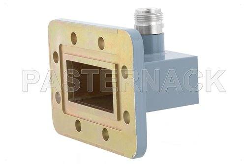 WR-187 CPR-187G Grooved Flange to Type N Female Waveguide to Coax Adapter, 3.95 GHz to 5.85 GHz, J Band, Aluminum, Paint