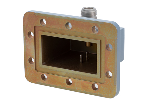 WR-229 CPR-229G Grooved Flange to N Female Waveguide to Coax Adapter Operating from 3.3 GHz to 4.9 GHz