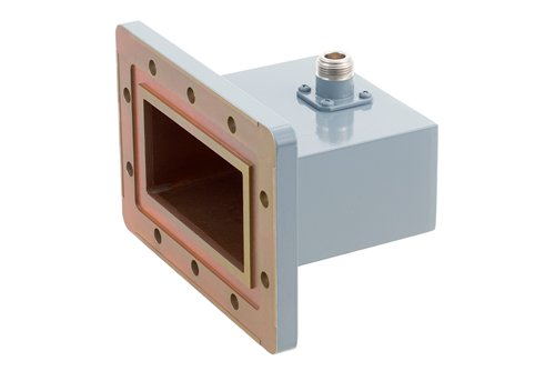 WR-340 CPR-340G Grooved Flange to N Female Waveguide to Coax Adapter Operating from 2.2 GHz to 3.3 GHz