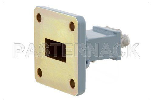 WR-62 UG-1665/U Square Cover Flange to End Launch SMA Female Waveguide to Coax Adapter Operating from 12.4 GHz to 18 GHz