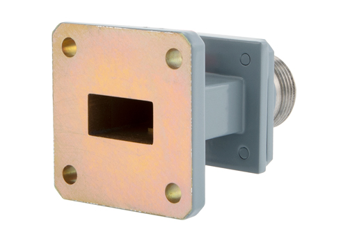 WR-62 UG-1665/U Square Cover Flange to End Launch Type N Female Waveguide to Coax Adapter, 12.4 GHz to 18 GHz, Ku Band, Aluminum, Paint