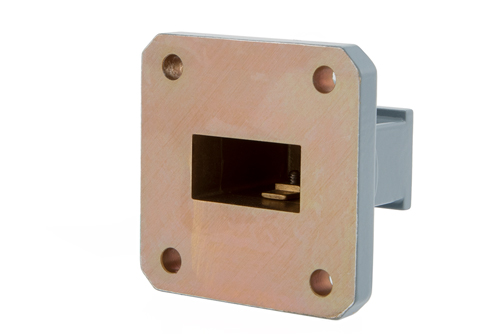 WR-75 Square Cover Flange to End Launch SMA Female Waveguide to Coax Adapter, 10 GHz to 15 GHz, M Band, Aluminum, Paint