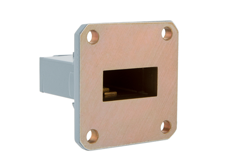 WR-90 UG-135/U Square Cover Flange to End Launch SMA Female Waveguide to Coax Adapter, 8.2 GHz to 12.4 GHz, X Band, Aluminum, Paint