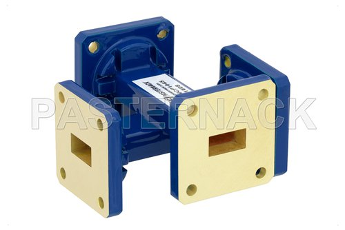 WR-51 40 dB Waveguide Crossguide Coupler, Square Cover Flange, 15 GHz to 22 GHz