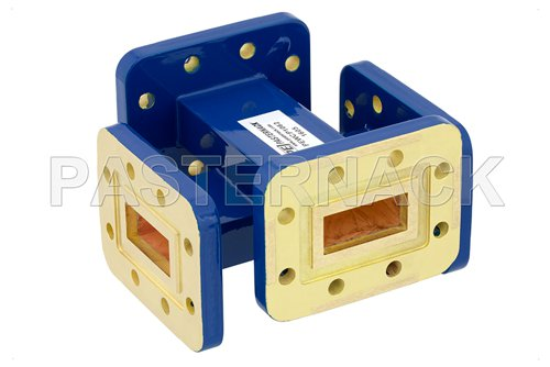 WR-90 50 dB Waveguide Crossguide Coupler, CPR-90G Grooved Flange, 8.2 GHz to 12.4 GHz