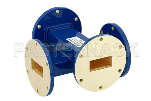 WR-137 20 dB Waveguide Crossguide Coupler, UG-344/U Round Cover Flange, 5.85 GHz to 8.2 GHz