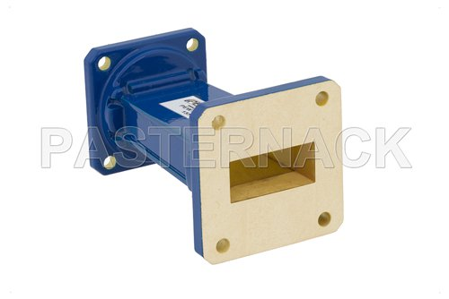 WR-112 to WR-90 Waveguide Transition 3 Inch Length With UG-51/U Square Cover Flange to UG-39/U Square Cover Flange
