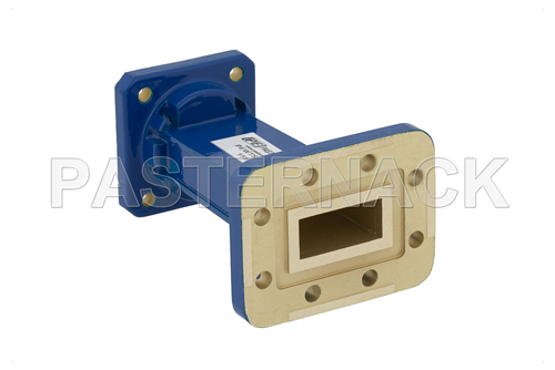 WR-90 to WR-75 Waveguide Transition 3 Inch Length, CPR-90G Grooved Flange to Square Cover Flange