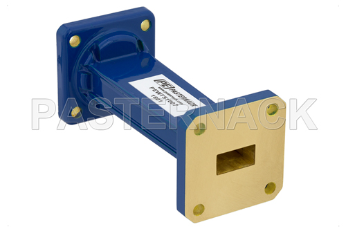 WR-62 to WR-51 Waveguide Transition 3 Inch Length, UG-1665/U Square Cover Flange to Square Cover Flange