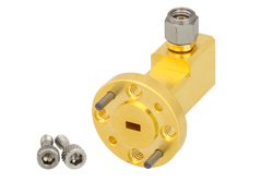 WR-12 UG-387/U Round Cover Flange to 1.0mm Male Waveguide to Coax Adapter Operating From 60 GHz to 90 GHz, E Band