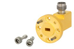 WR-15 UG-385/U Round Cover Flange to 1.85mm Female Waveguide to Coax Adapter Operating From 50 GHz to 65 GHz, V Band