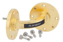 PE-W19B001 - WR-19 Instrumentation Grade Waveguide E-Bend with UG-383/U-Mod Flange Operating from 40 GHz to 60 GHz