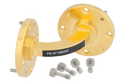 PE-W19B002 - WR-19 Instrumentation Grade Waveguide H-Bend with UG-383/U-Mod Flange Operating from 40 GHz to 60 GHz