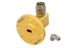 WR-19 UG-383/U-Mod Round Cover Flange to 1.85mm Male Waveguide to Coax Adapter Operating From 40 GHz to 60 GHz, U Band