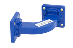 WR-62 Commercial Grade Waveguide H-Bend with UG-419/U Flange Operating from 12.4 GHz to 18 GHz