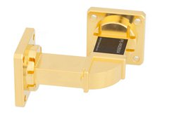 WR-62 Instrumentation Grade Waveguide H-Bend with UG-419/U Flange Operating from 12.4 GHz to 18 GHz