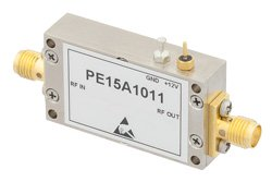 PE15A1011 - 1 dB NF, 17 dBm P1dB, 10 MHz to 1,000 MHz, Low Noise Amplifier, 30 dB Gain, SMA