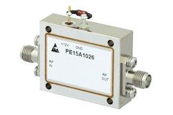 PE15A1026 - 2.2 dB NF, 13 dBm Psat, 8 GHz to 12 GHz, Low Noise Amplifier, 28 dB Gain, SMA