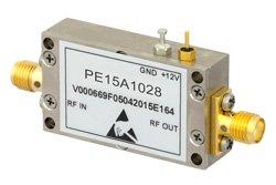 PE15A1028 - 40 dB Gain, 0.7 dB NF, 12 dBm P1dB, 1.2 GHz to 1.6 GHz, Low Noise Amplifier, SMA