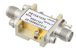 PE15A1030 - 6.5 dB NF, 16 dBm Psat, 2 GHz to 18 GHz, Low Phase Noise Amplifier 12.5 dB Gain, SMA