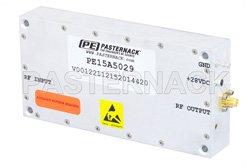 PE15A5029 - 44 dB Gain, 8 Watt Psat, 0.5 MHz to 500 MHz, High Power LDMOS Amplifier, SMA Input, SMA Output, 42 dBm IP3, Class A/AB