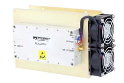 PE15A5029F - 44 dB Gain, 8 Watt Psat, 0.5 MHz to 500 MHz, High Power LDMOS Amplifier, SMA Input, SMA Output, 42 dBm IP3, Class A/AB, with Heatsink