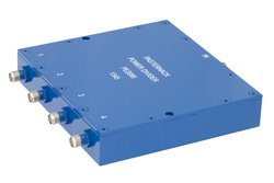 4 Way SMA Wilkinson Power Divider From 690 MHz to 2.7 GHz Rated at 10 Watts