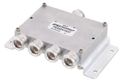 PE20DV1037 - Low PIM 4 Way 4.1/9.5 Mini DIN Power Divider From 698 MHz to 2.7 GHz Rated at 30 Watts