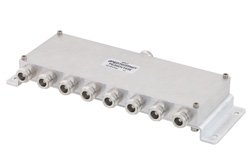 Low PIM 8 Way N Power Divider From 698 MHz to 2.7 GHz Rated at 30 Watts