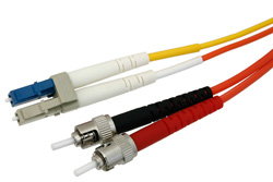 LC to ST Duplex Using 62.5/125 To 9/125 Mode Conditioning Fiber Optic Cable 2 Meters Length in Orange/Yellow