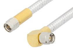 SMA Male to SMA Male Right Angle Cable Using PE-SR401FL Coax, RoHS