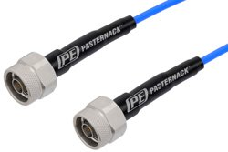 N Male to N Male Cable 150 cm Length Using PE-P141 Coax with HeatShrink, LF Solder, RoHS