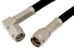 SMA Male to SMA Male Right Angle Cable Using PE-C195 Coax