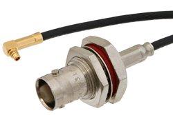 PE36738 - MMCX Plug Right Angle to BNC Female Bulkhead Cable Using RG174 Coax
