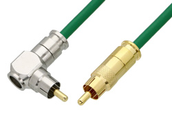 75 Ohm RCA Male to 75 Ohm RCA Male Right Angle Cable Using 75 Ohm PE-B159-GR Green Coax