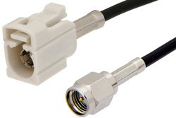SMA Male to White FAKRA Jack Cable Using PE-C100-LSZH Coax
