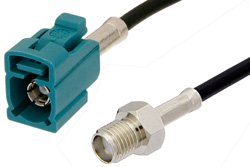PE39350Z - SMA Female to Water Blue FAKRA Jack Cable Using RG174 Coax