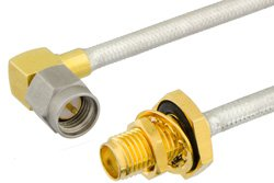 SMA Male Right Angle to SMA Female Bulkhead Precision Cable Using PE-SR402FL Coax, RoHS