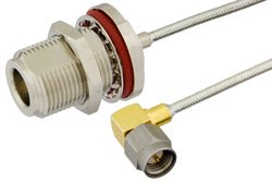 SMA Male Right Angle to N Female Bulkhead Precision Cable Using PE-SR405FL Coax, RoHS