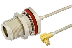N Female Bulkhead to MCX Plug Right Angle Precision Cable Using PE-SR405FL Coax, RoHS
