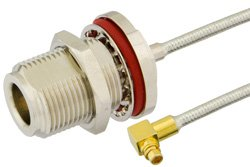 N Female Bulkhead to MMCX Plug Right Angle Precision Cable Using PE-SR405FL Coax, RoHS