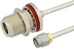 SMA Male to N Female Bulkhead Precision Cable Using PE-SR402FL Coax, RoHS